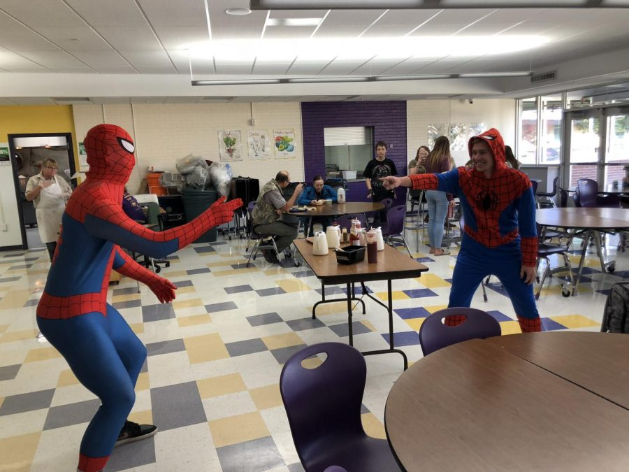 Jack Gauthier and Mcleod Versland pose in Spiderman costumes for Meme Day.