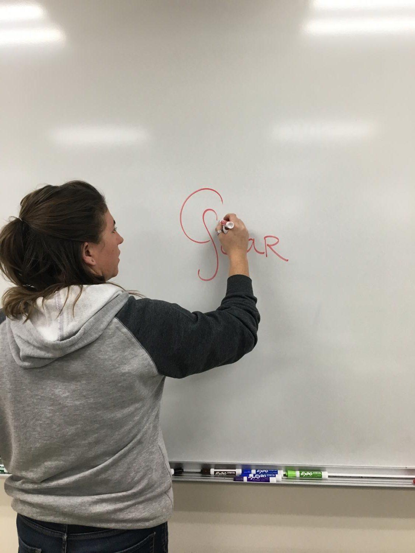 Alecia Jongeward teaches students about solar energy.
