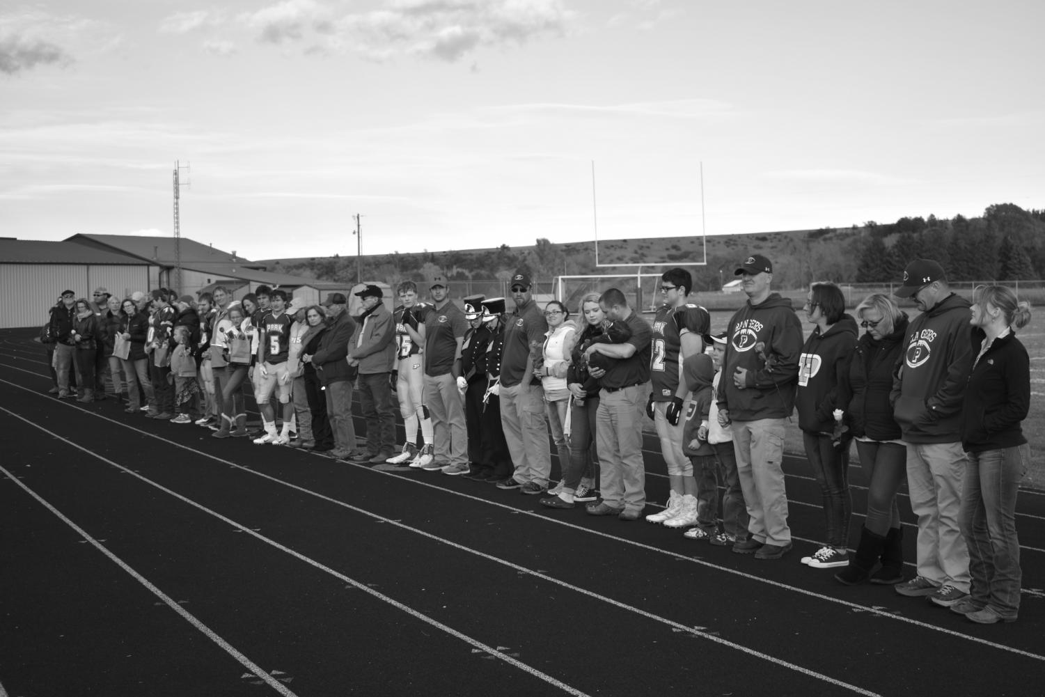 Park High seniors line up to say farewell to their final football season.