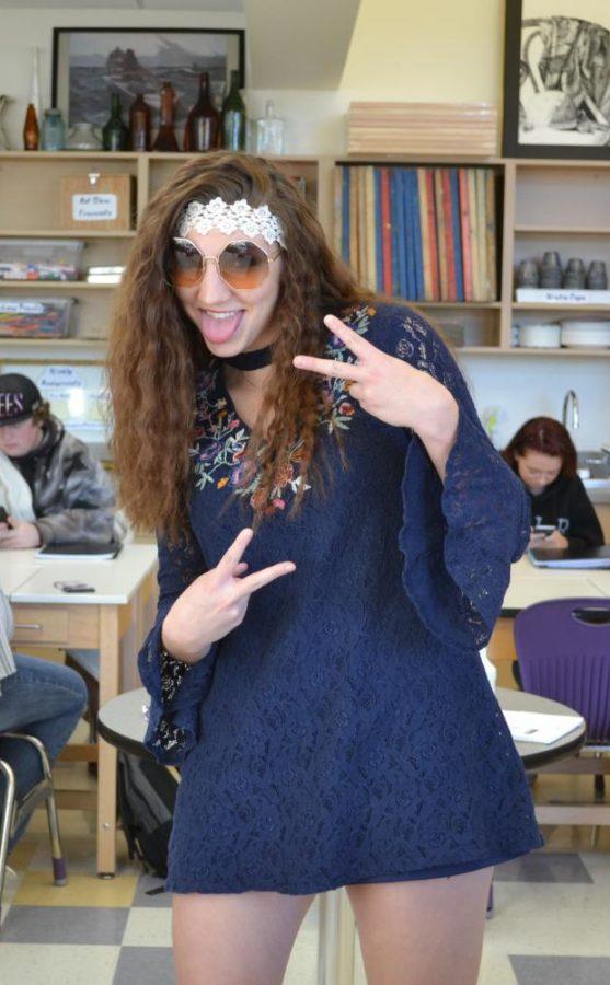 Rainna Floyd shows her hippie style