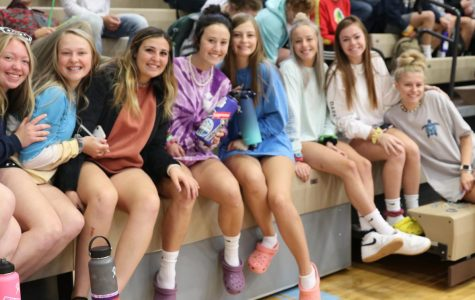 Senior Girls show off their VSCO outfits at the Monday morning  assembly.