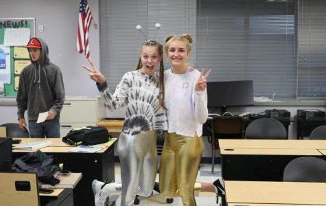Seniors Ryleah Floyd and Abby Kokot do E.T day like they do everyday life; together.