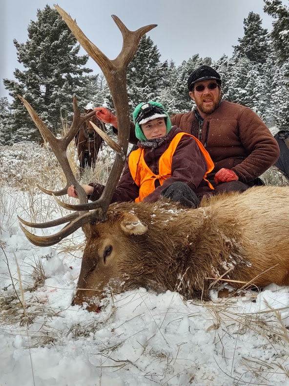 Jill+Rigler+and+her+father%2C+Ryan%2C+pursued+this+six-point+bull+elk+for+three+miles+before+securing+their+trophy+on+opening+weekend+of+rifle+season.