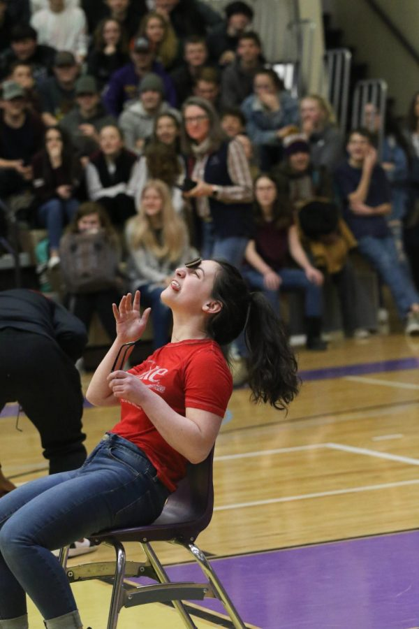 Sidney Denniston participating in the relay race, during the FFA assembly