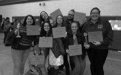 Senior Brianna Pitman, Junior James Duncan, and Sophmores Sophia Ross, Sidney denniston, Ilana Patberg, Summer Melin, and Reba Shandy all posing with their awards.