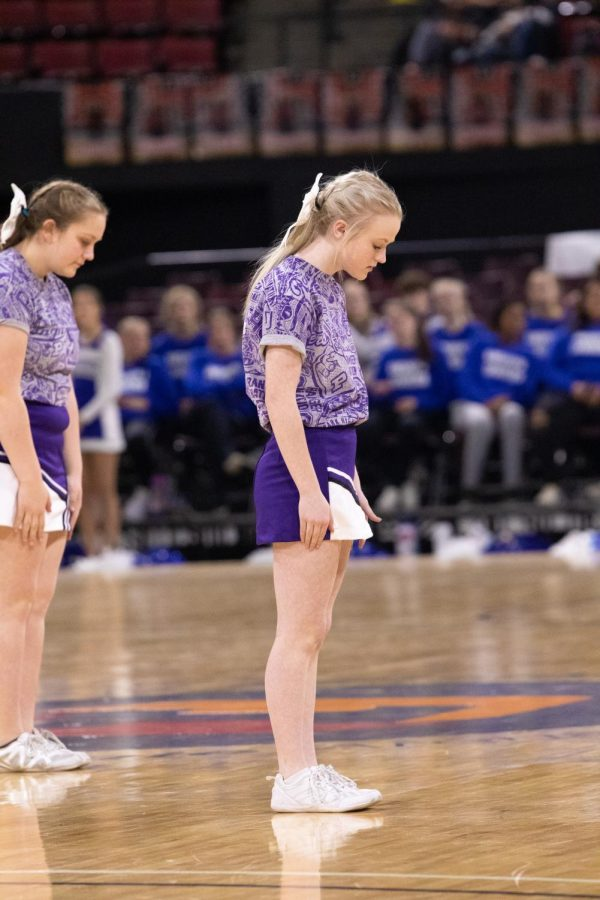 Franny Hester prepares for the half-time routine Wednesday afternoon.