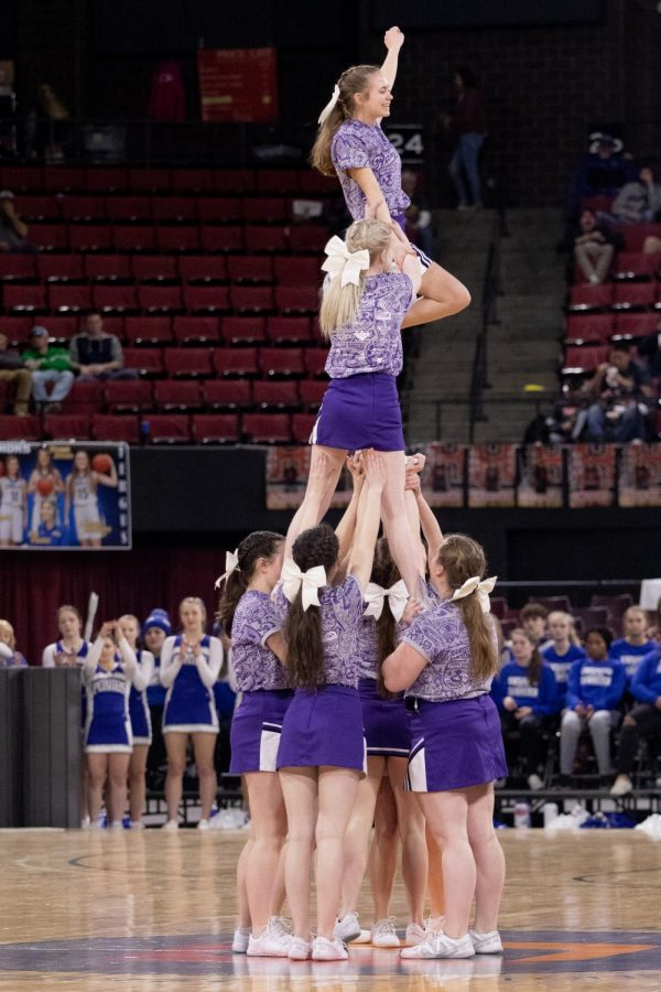 The Park High cheerleaders stand proud during a half-time routine Wednesday afternoon.