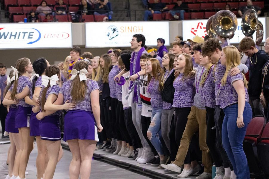 Park students and cheerleaders march during the Boys game against Havre.
