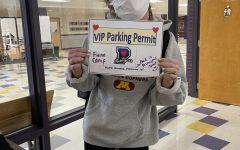 Senior Fionn Camp won the privilege of parking in Principal Scalia's spot on Monday, Feb. 15.