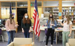 Student council members prepare a video announcement March 5 to kick off