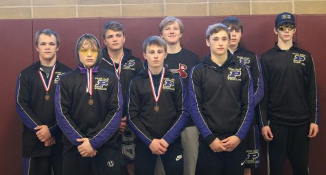 PHS State Wrestling Team  First Row (left to right) Alex Kober, Gage McGilvary, Danyk Jacobsen.  Top Row (left to right) Quincy Eastman, Cade Gubler, Lyom Bullard, Zane Cox, Charlie Seeman.