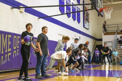 Junior boys line up to start the first round of dodgeball at the assembly Thursday.  The victors, the seniors, will face a teacher team next Friday.